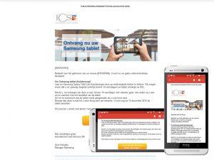 HTML E-mail voor ontvangen van tablet